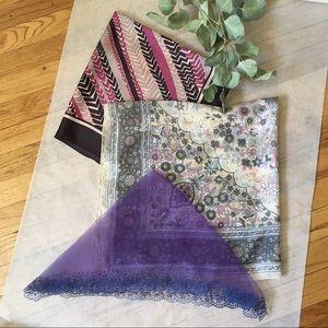LP Vintage Scarves Bundle   Pink Purple Blue